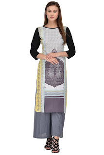 Allesia Grey and Black Digital Print Crepe Kurti by FashionDiya Rs. 429