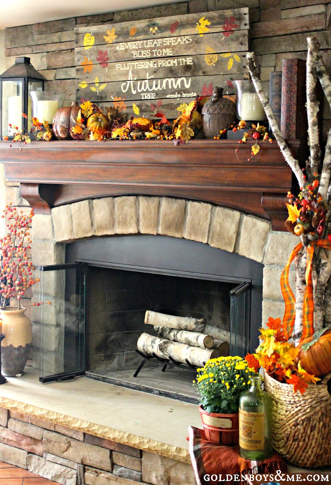 Fall Fireplace Mantel Decorating Ideas: Golden Boys And Me: Fall Mantel