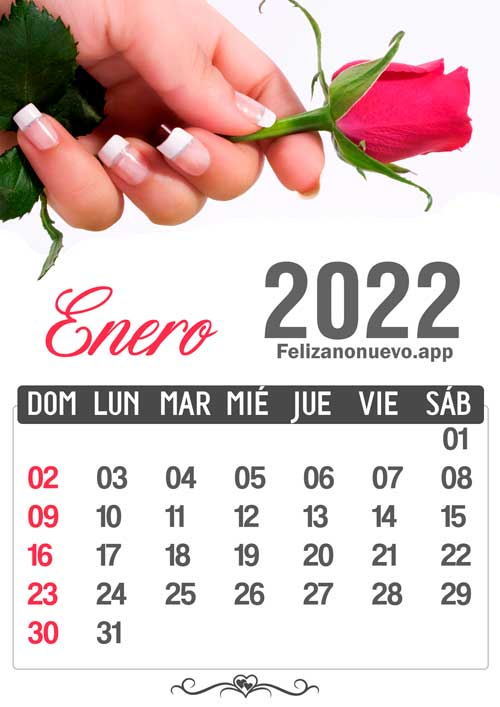 Calendario 2022 mes de enero para imprimir