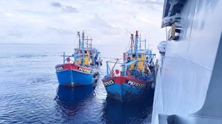 KRI Kerambit-627 Tangkap Tiga Kapal Malaysia Saat Curi Ikan di Selat Malaka