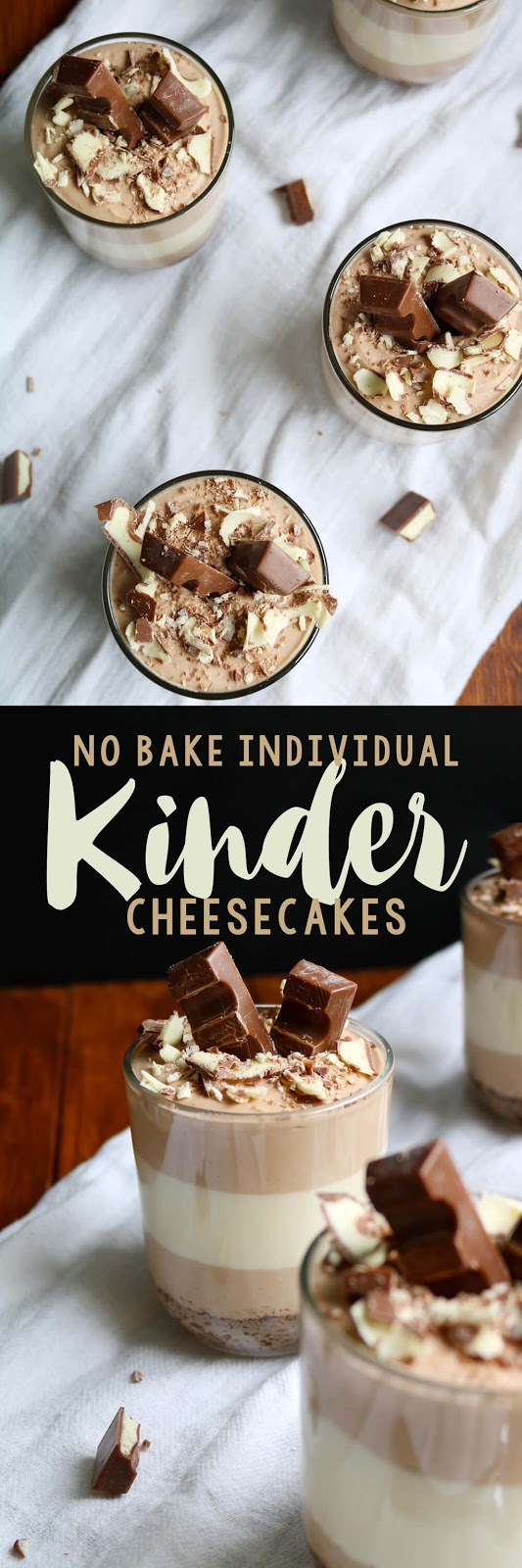 Individual No Bake Kinder Cheesecakes | Hungry Little Bear