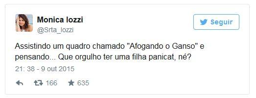 Monica Iozzi critica panicats nas redes sociais.