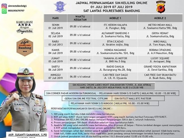Jadwal SIM Keliling Polrestabes Bandung Bulan Juli 2019