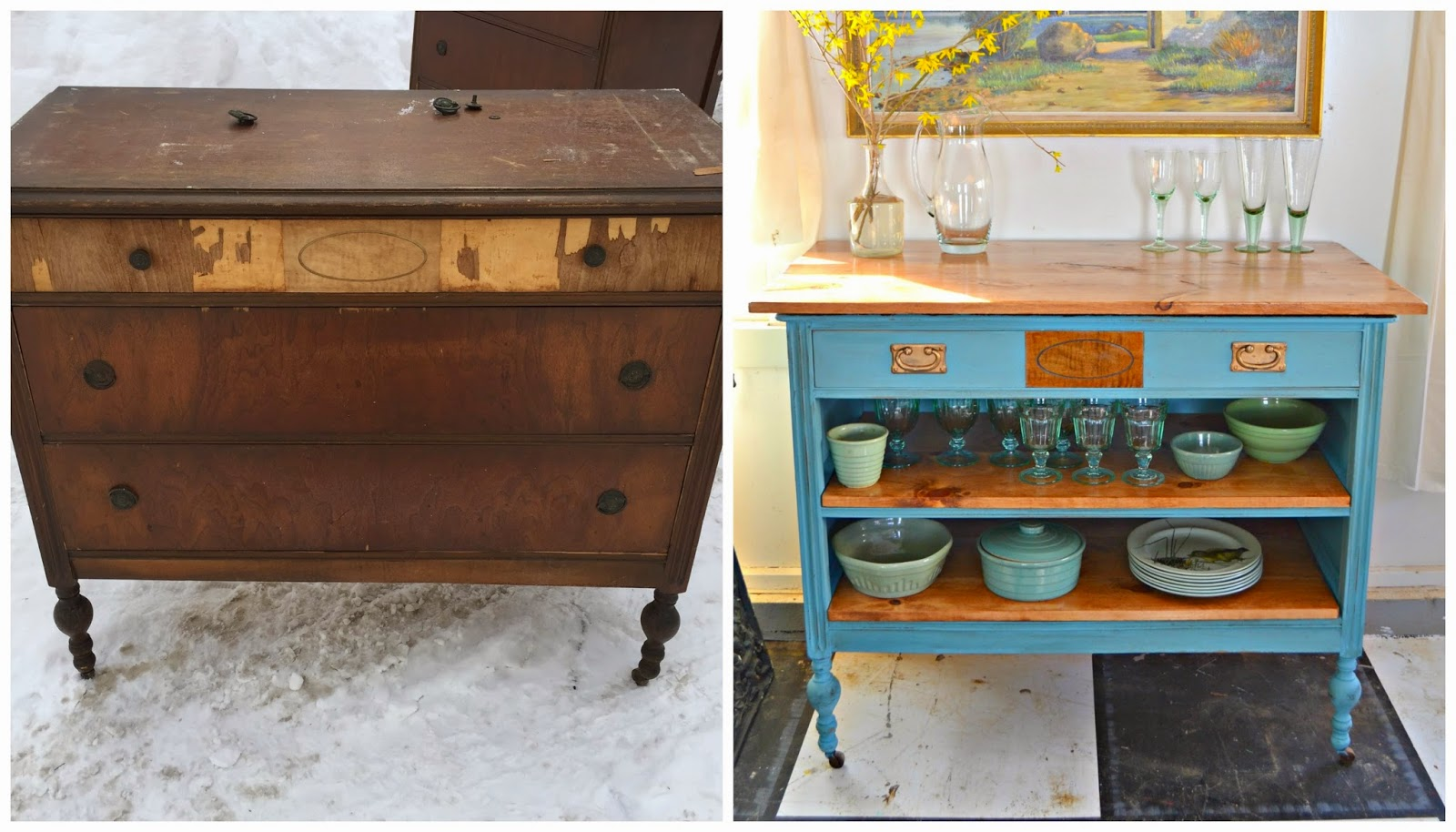 Antique Dresser Turned Kitchen Island