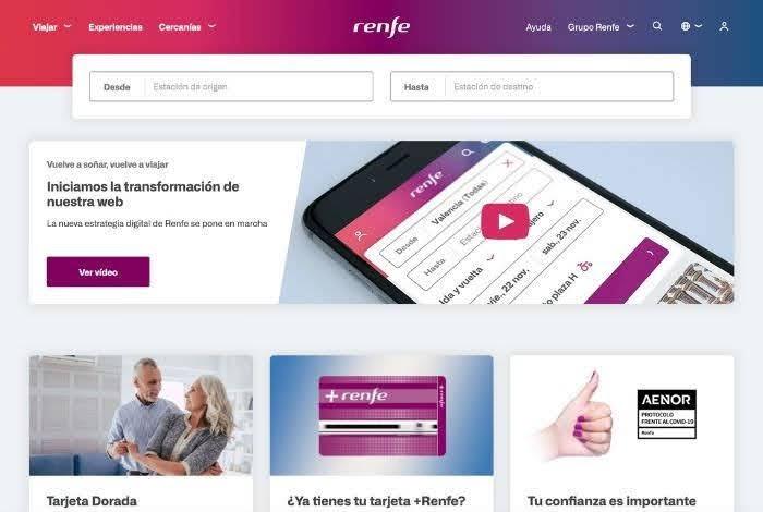 リニューアルされたスペイン列車レンフェ公式サイト