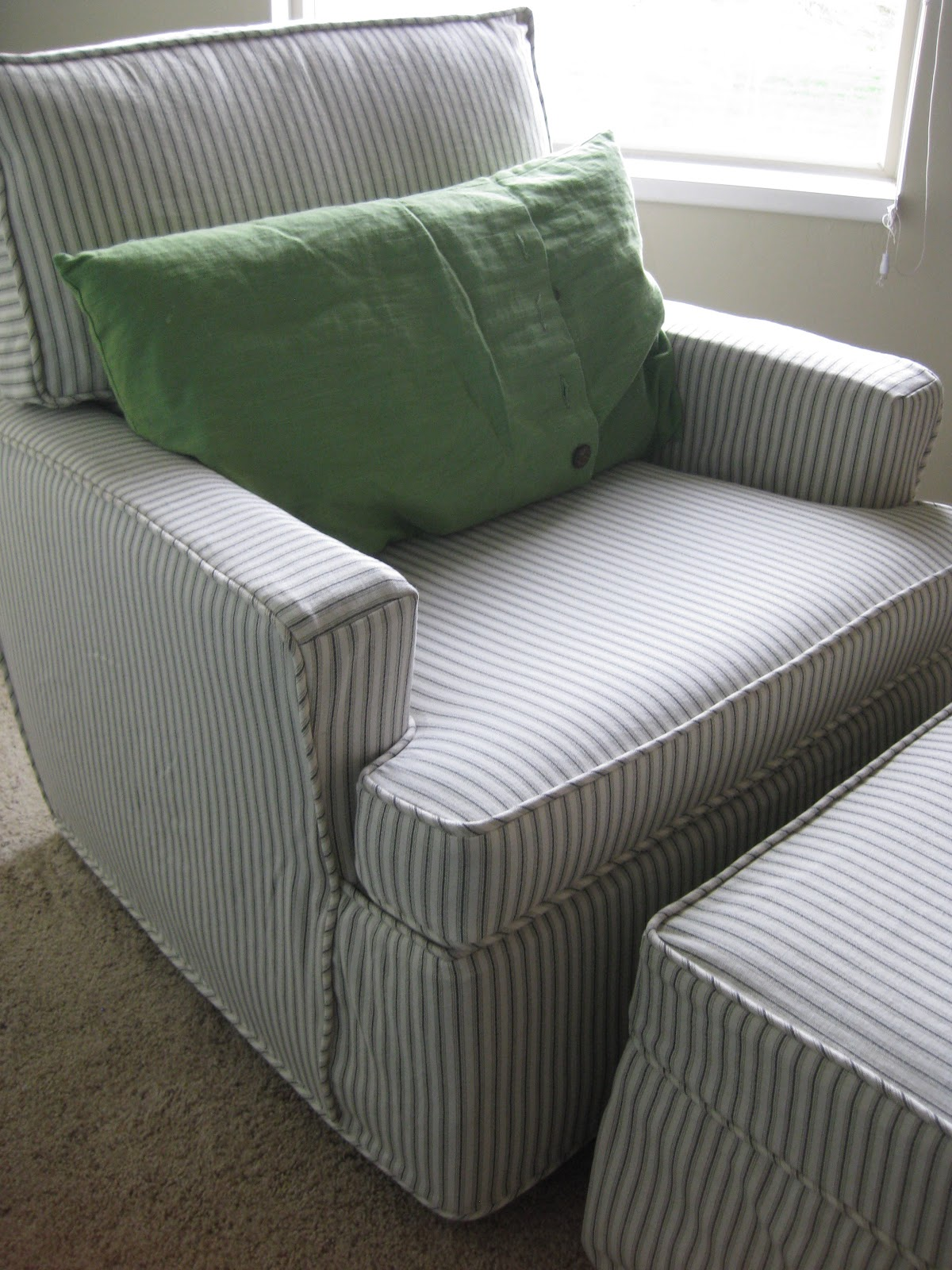 chair slipcovers green french country arm custom by shelley ticking stripe