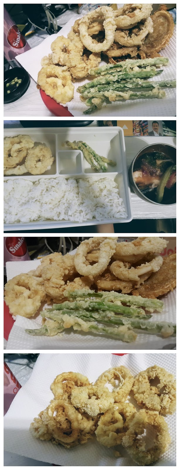 Sinigang na salmon soup (sour soup) with Calamares or Calamari and asparagus stirfry with rice and sinalco can drink