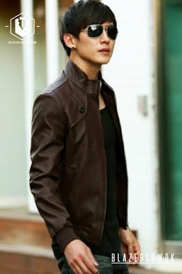 blazer cowok blazercowok.com jaket korean jas pria sk32 brown d