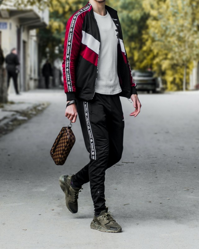Man wearing, a Track jackets and stretchable joggers.