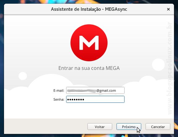 Faça login na sua conta do MEGA
