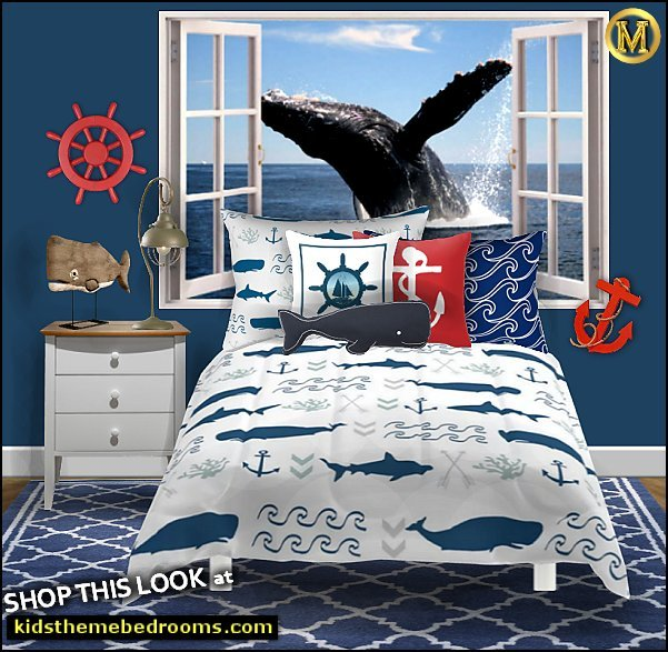 whale bedroom ideas - whale bedding -  nautical wall decorations - ships wheel - anchor - nautical rugs - whale window wall mural - maries manor