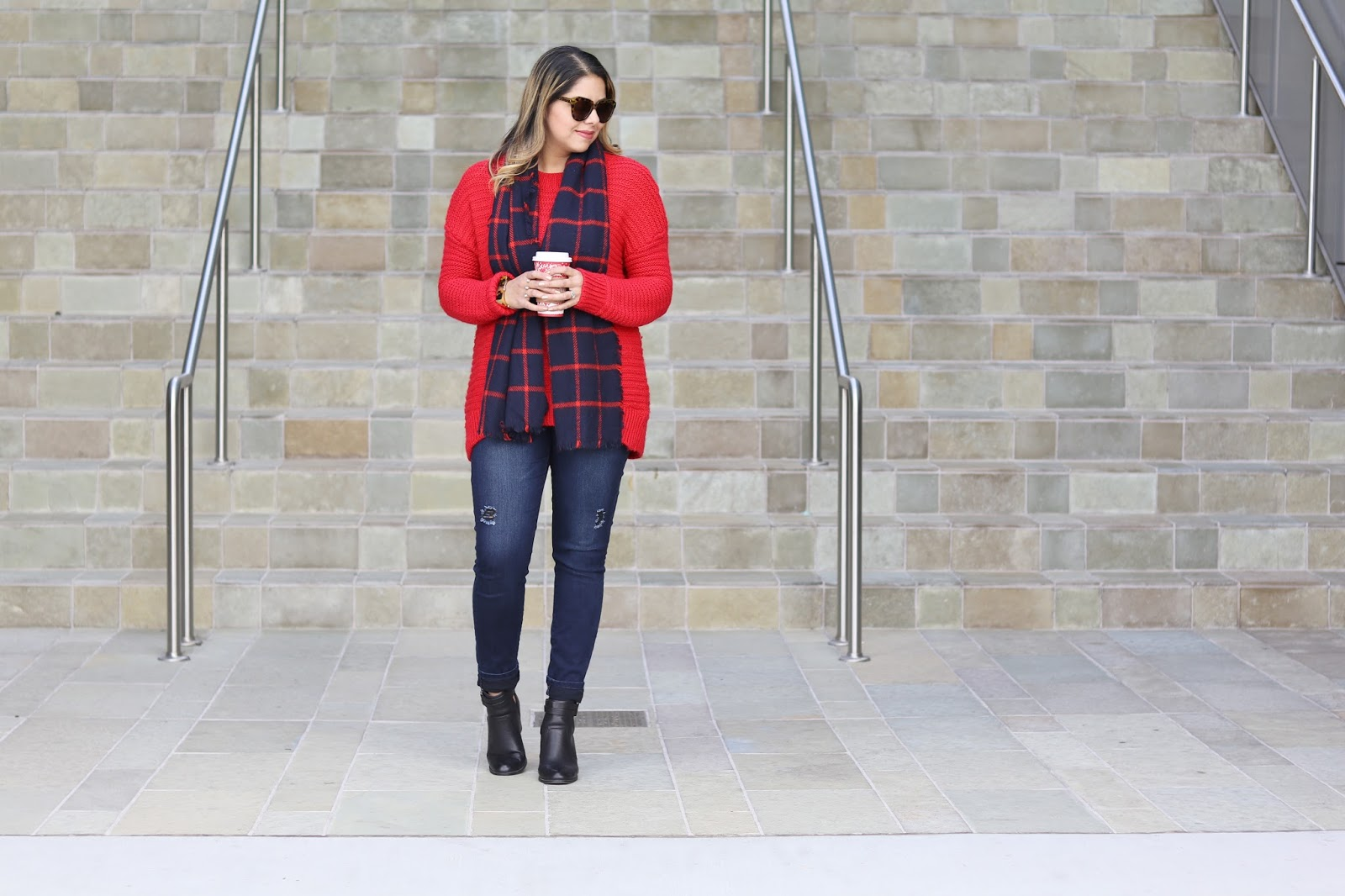 touch of plaid outfit, cute cozy outfit, winter 2016 outfit