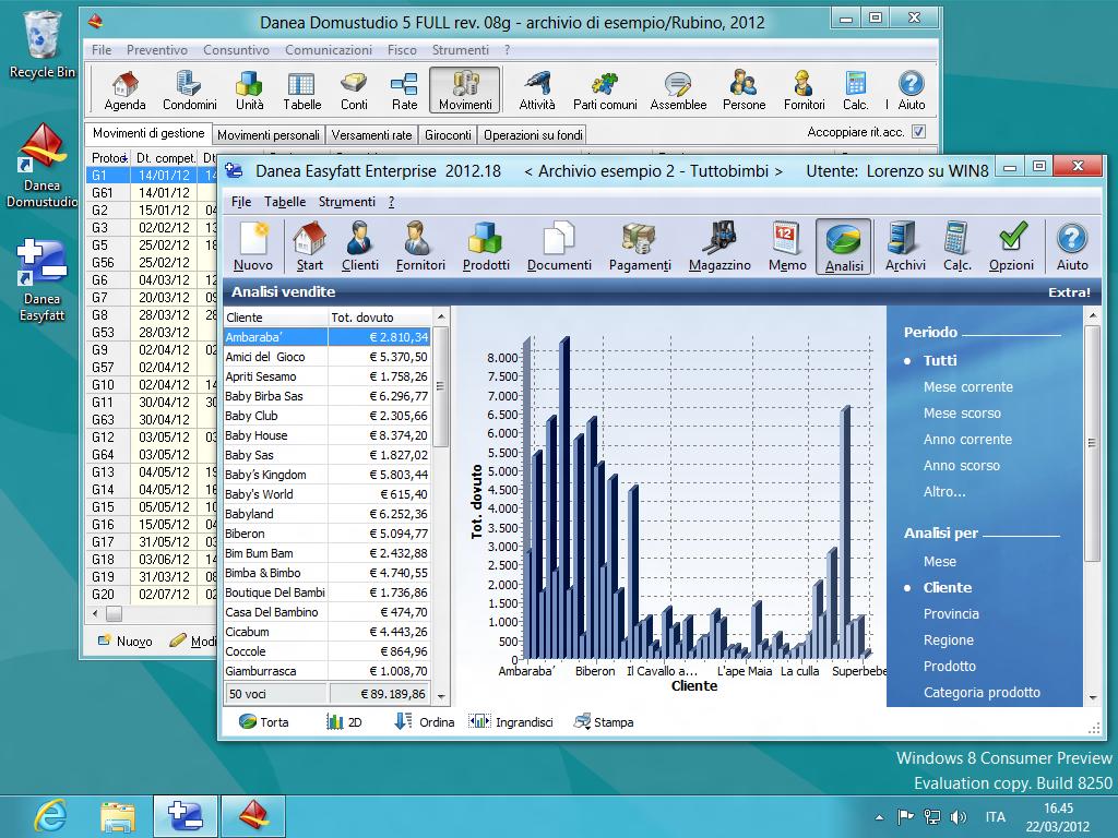 """16f4388498 Ecco uno screenshot con Domustudio ed Easyfatt che """"girano"""" sul nuovo  sistema operativo"""