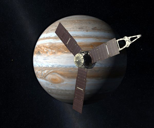 An artist's concept of NASA's Juno spacecraft (which launched from Cape Canaveral Air Force Station in Florida on August 5, 2011) orbiting Jupiter.