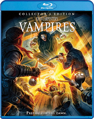 Blu-ray cover art for Scream Factory's Collector's Edition of John Carpenter's VAMPIRES!