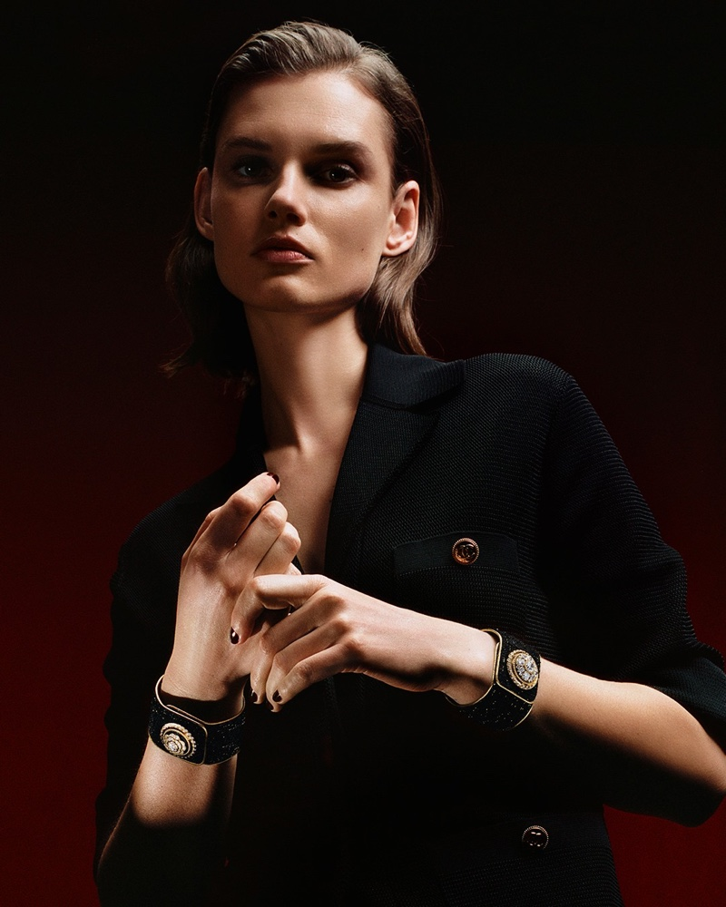 Model Giedre Dukauskaite fronts Chanel Mademoiselle Privé Bouton campaign.
