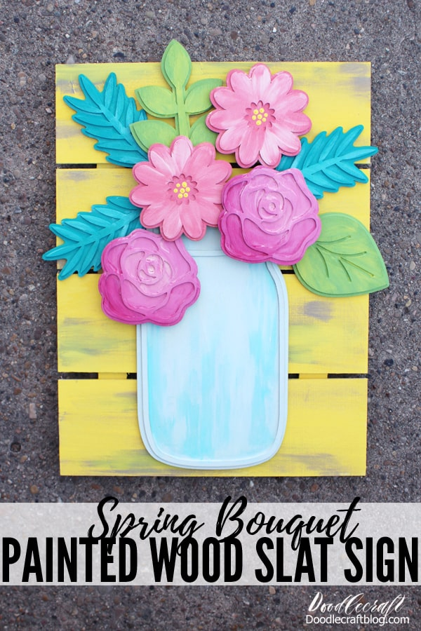 Blue mason jar with felt flowers wood stained sign