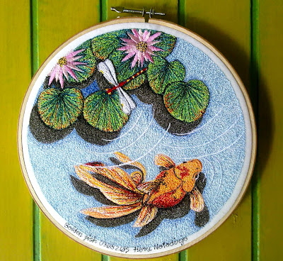 goldfish and dragonfly embroidery painting