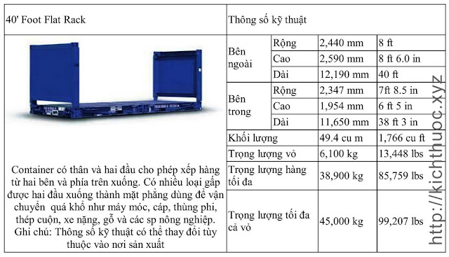 kich thuoc container flat rack 40 foot