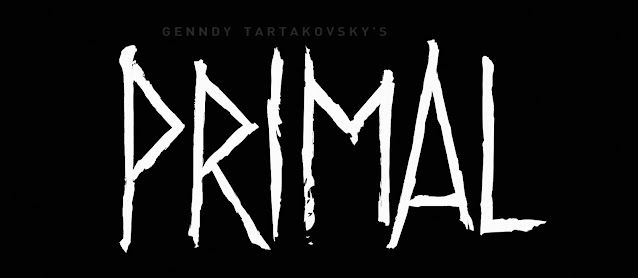 """The series logo, white text on a black background reading """"Primal"""". Above this, in a grey font, the nameof the show's creator, Genndy Tartakovsky"""