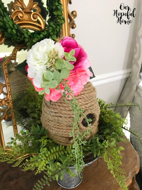 Dollar Tree rope bee skep faux flowers fern wreath