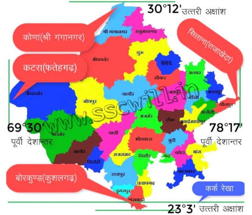 राजस्थान की अंतर्राजीय व अन्तराष्ट्रीय सीमा