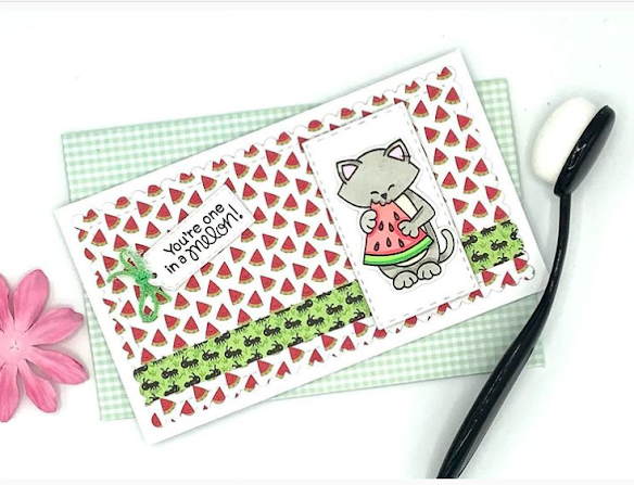 You're one in a melon by Julie features Newton's Melon by Newton's Nook Designs; #inkypaws, #newtonsnook, #cardmaking