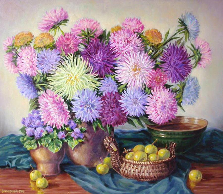 Cuadros modernos pinturas y dibujos paisajes y jarrones - Fotos jarrones con flores ...