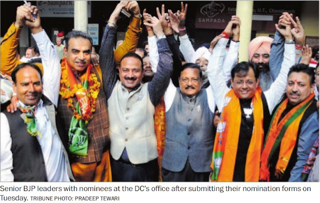 Senior BJP leader & Addl. Solicitor General of India Satya Pal Jain with nominees at the DC's Office after submitting their nomination forms on Tuesday.