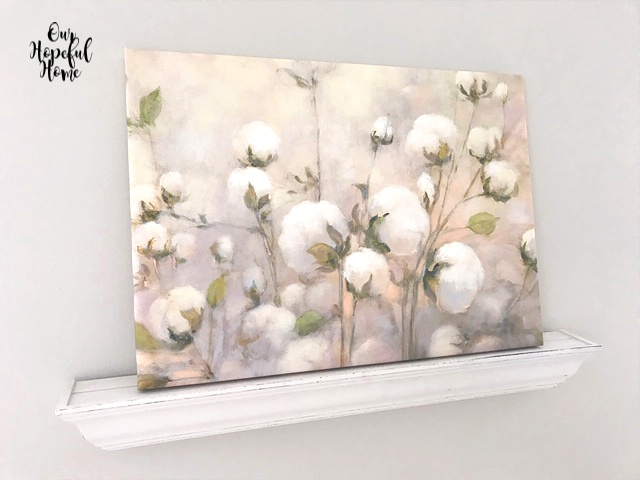 Photowall canvas wall art cotton boll picture floating shelf