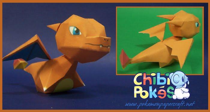 Gible Toy: Pokémon Papercraft: CHARIZARD CHIBI