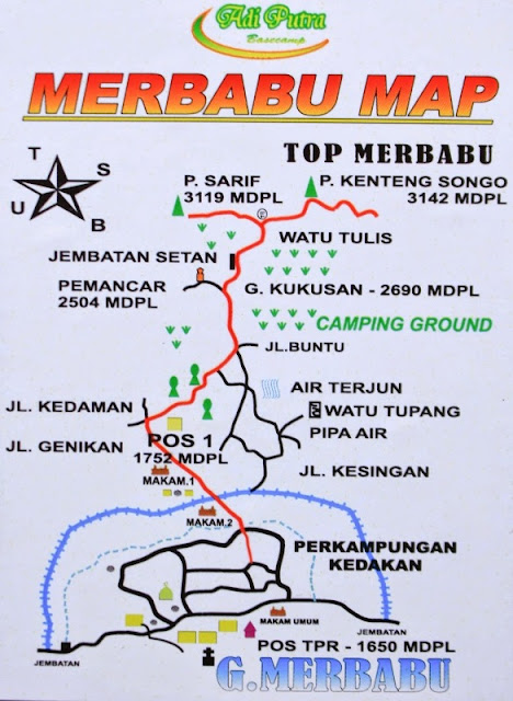 Peta Pendakian Gunung Merbabu via Wekas