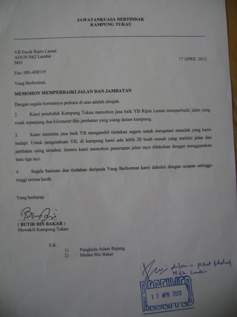 Surat Rasmi Permohonan Membaiki Jalan - Rasmi B