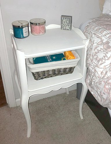 End table for night stand with basket