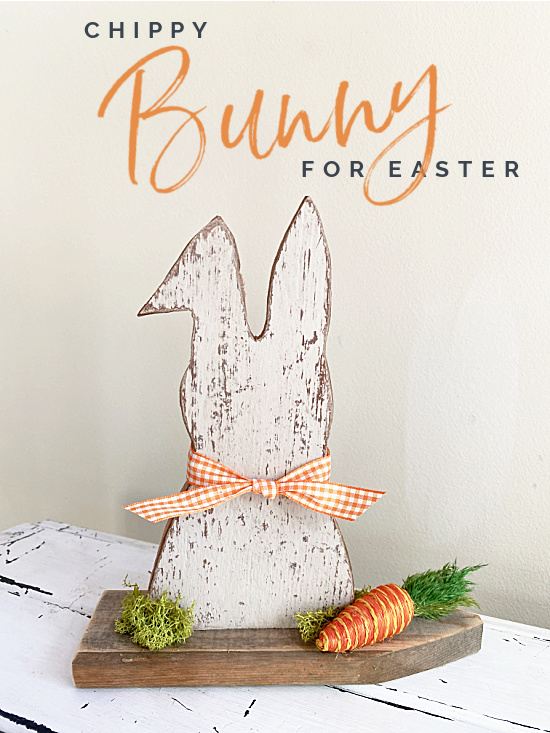 Chippy bunny with bow and carrot and Pinterest overlay
