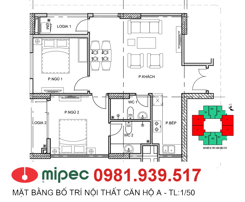 Thiết kế căn hộ 69m2 tòa M2 - M3 Mipec Hà Đông