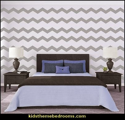 Chevron Wall Pattern - Vinyl Wall Art Decal  zig zag bedroom decorating ideas - Zig Zag wall decals - Chevron bedroom decorating ideas - zig zag wallpaper mural - zig zag decor - Chevron ZIG ZAG print - Herringbone Stencil - chevron bedding - zig zag rugs -