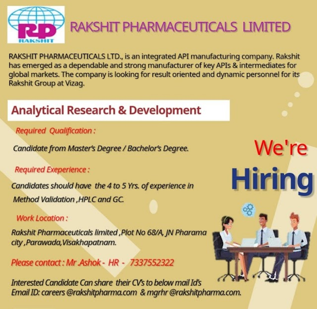 Rakshit Pharmaceuticals | Urgent openings in Analytical Research & Development at Visakhapatnam | Send CV