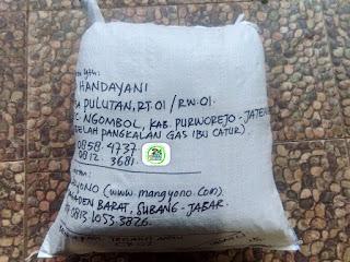 Benih padi yang dibeli   SAD HANDAYANI Purworejo, Jateng.  (Setelah packing karung ).