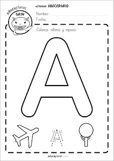 Poster letras gigantes lectoescritura para imprimir en Infantil y Primaria 5 años mayúscula y minúscula con imagen