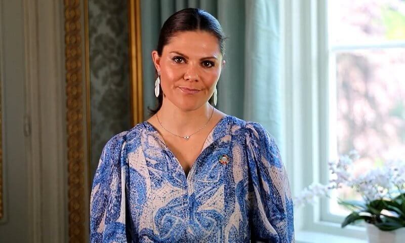 Crown Princess Victoria wore a libby shirt dress from Valerie Stockholm, and a blue Mosaic-patterned silk dress from H&M