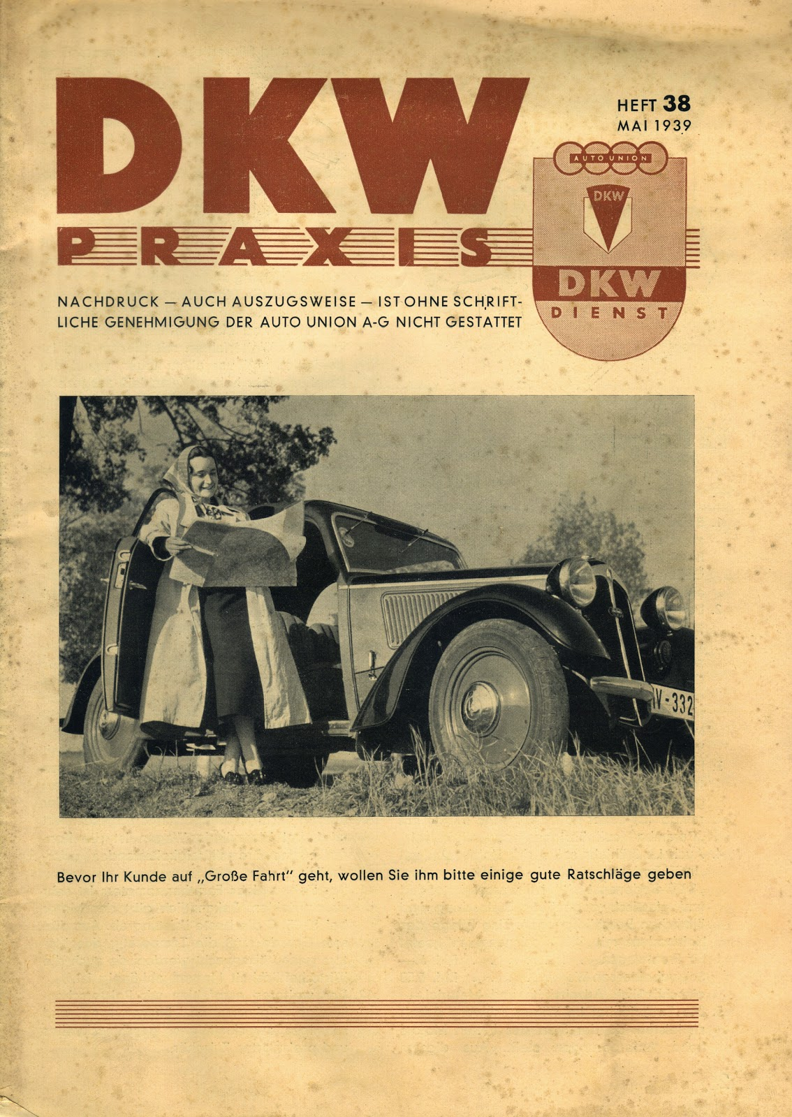 Along with customer marketing magazines, DKW also produced a repair and  service magazine aimed at DKW service personnel and home mechanics.