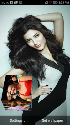 Shruti Haasan 3D live Wallpaper For Android Mobile Phone