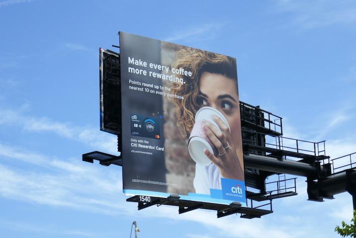 Citi Rewards Card coffee rewarding billboard