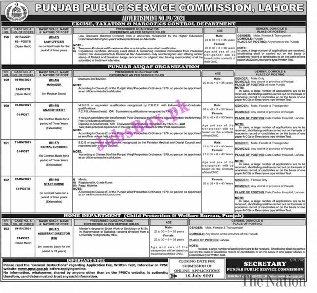 PPSC Jobs 2021 Advertisement No. 19 – Apply Online via ppsc.gop.pk