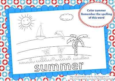 summer coloring for esl