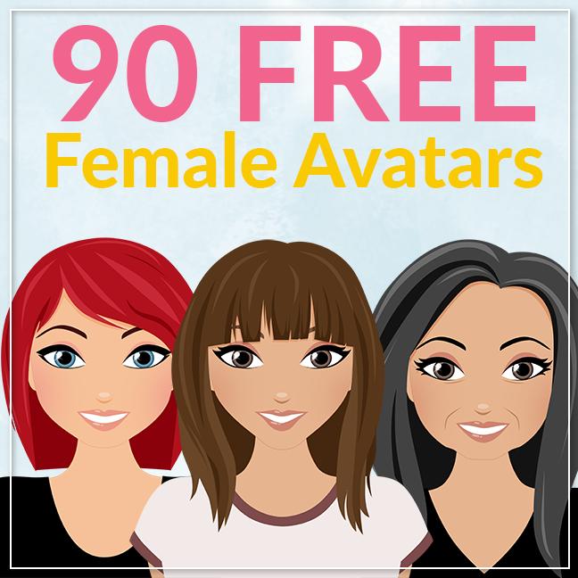 90 free female avatars