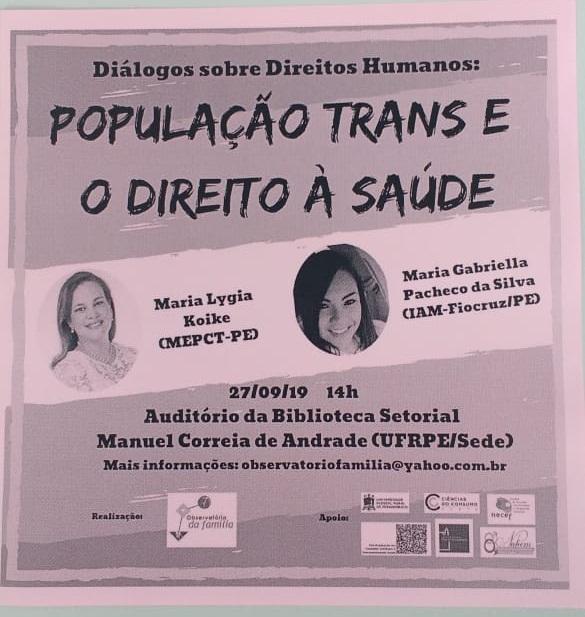 Diálogos sobre Direitos Humanos na UFRPE debaterá população trans e o direito à saúde