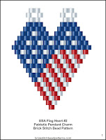 Free Brick Stitch Beaded Patriotic Pendant Pattern.
