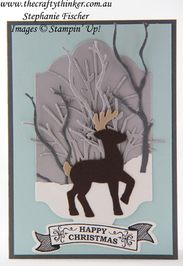 #thecraftythinker, #stampinup, #christmascard, #cardmaking, Christmas Card, Reindeer, Snowy scene with die cuts, Stampin' Up Australia Demonstrator, Stephanie Fischer, Sydney NSW